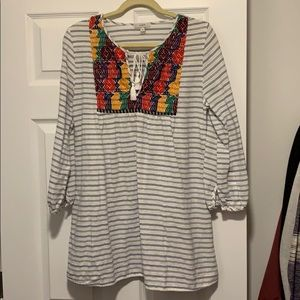 J. Crew Boho Embroidered Tassel Stripe Top